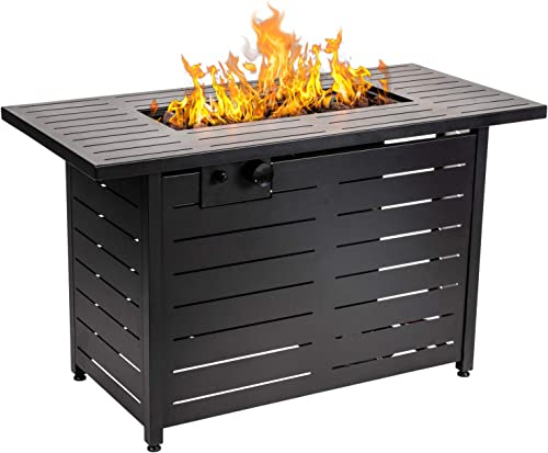 AMKV Propane Fire Pit Table, 42 Inch 60,000 BTU Rectangular Propane Gas Fire pits Free Lava Rocks and Electronic Ignition Balcony OutdoorTable Courtyard Garden Fire Pit Terrace