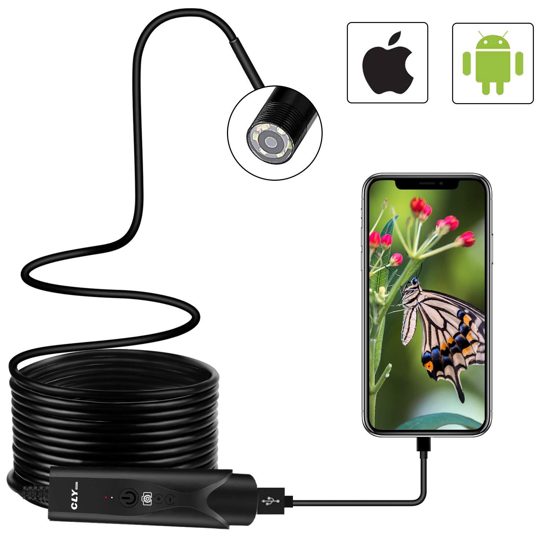 Endoscope USB, CLY OTG Endoscope Portable 5.5mm HD, 5M Avec 6 LED Adjustable, 2.0 Mé gapixel É tanche IP 67 Camé ra d'Inspection CMOS Pour Android, IOS, Tablette. 2.0 Mégapixel Étanche IP 67 Caméra d' Inspection CMOS Pour Android