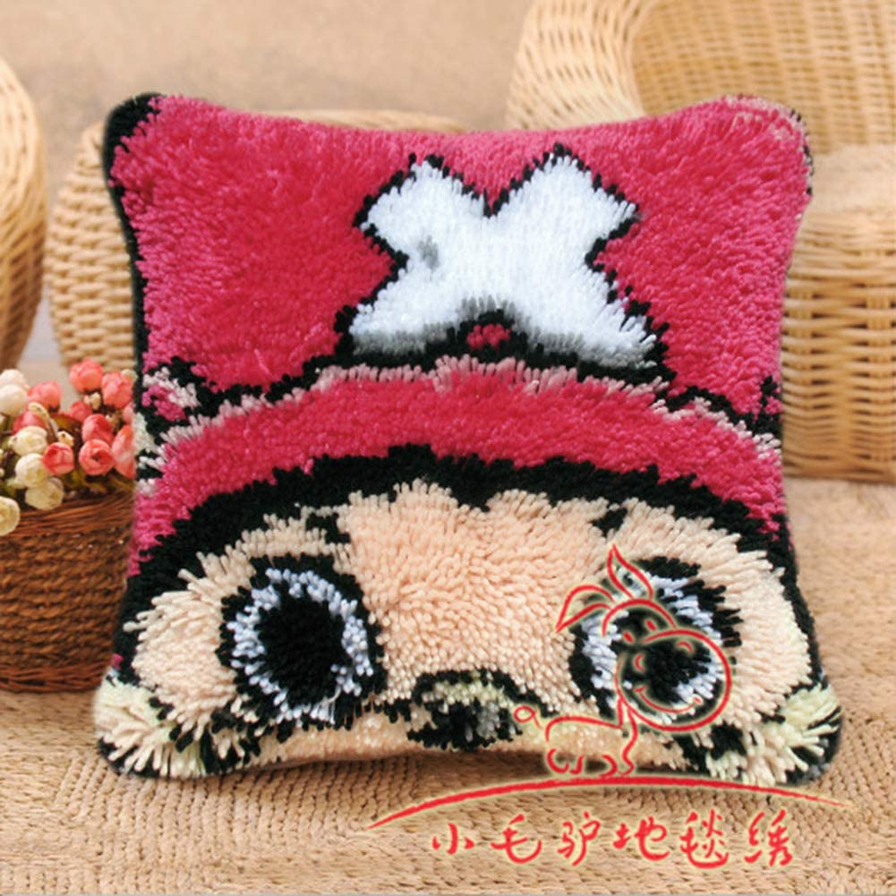 Cross Stitch Needle Kit Anime Cartoon Design DIY Latch Hook Kits Cushion Cover Embroidery Craft Creative Gift for Children//Adults Newbie,One Piece choba,17x17inch