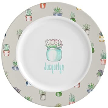 Succulents Ceramic Dinner Plates (Set of 4) (Personalized)  sc 1 st  Amazon.com : engraved dinner plates - pezcame.com