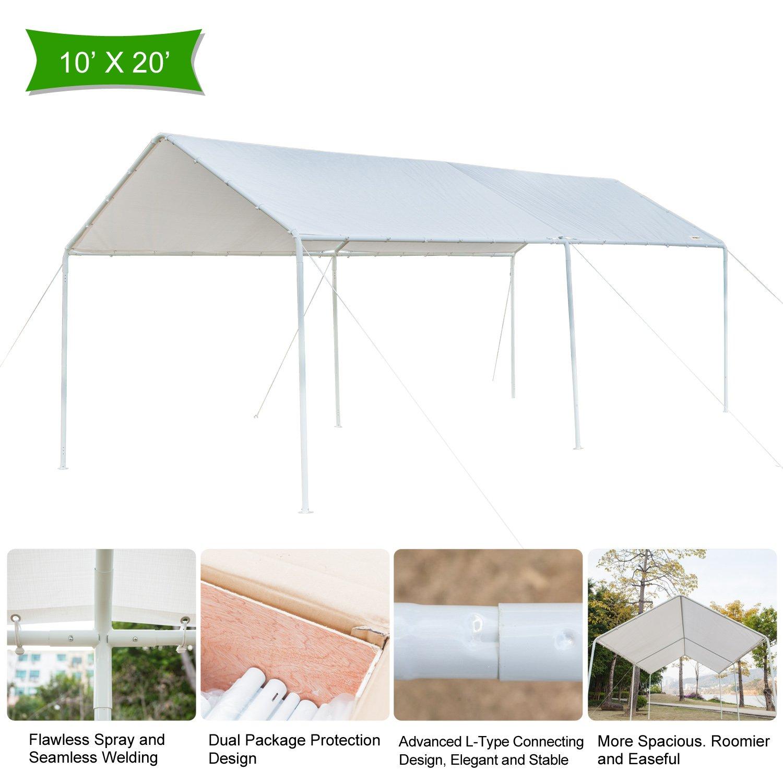 VINGLI 10 x 20 ft. Heavy Duty Carport Car Canopy,Party Wedding tent, Anti UV Waterproof, Upgraded Steady Steel Panels&Legs, Versatile Garage Vehicle Shelter, Outdoor Garden Gazebo, White