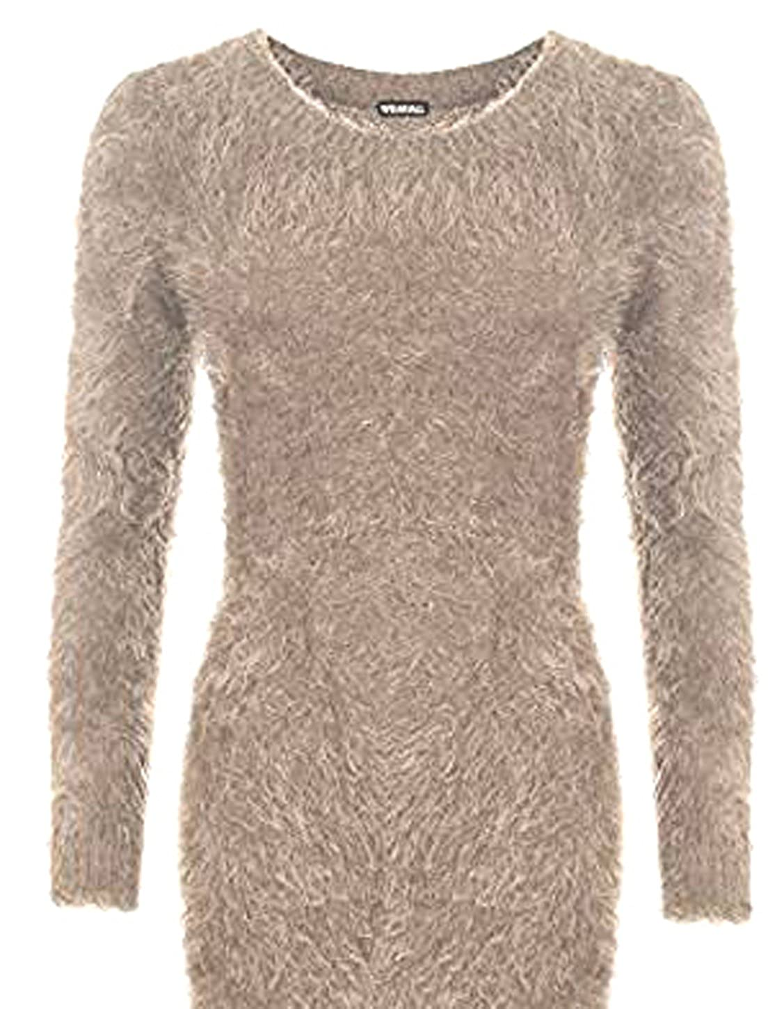 Womens Girls Stretch Bodycon Round Neck Fluffy Long Sleeve Top Sweater Ladies Jumper Free Size 8-16