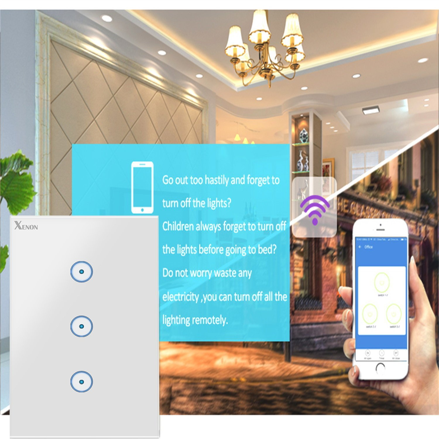 2 pack Xenon Smart Wi-Fi Wall Light Touch US 2 gang panel switch Compatible with Alexa Echo and Google Assistant No Hub Required Smart Timing Switch,Compatible with iOS and Android