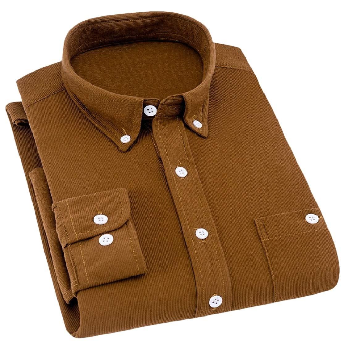 Hajotrawa Men Casual Button Down Long Sleeve Corduroy Spread Collar Shirts