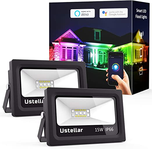 Ustellar 2 Pack Smart 15 W RGB blanco LED Flood Light, WiFi Color Cambio Outdoor Floodlight, Multicolor Regulable IP66 impermeable Wall Washer Light, Stage Lighting, Compatible con Alexa: Amazon.es: Iluminación