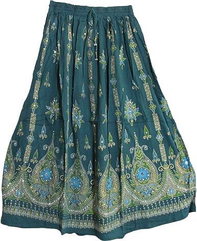 Amazon.com: Yoga Trendz Falda larga gitana de lentejuelas ...