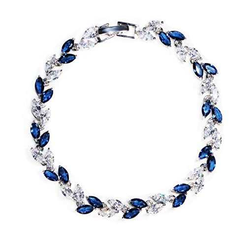 2f74f0ab0826 ... de plata chapado en azul zafiro pulseras joyas para mujeres niñas