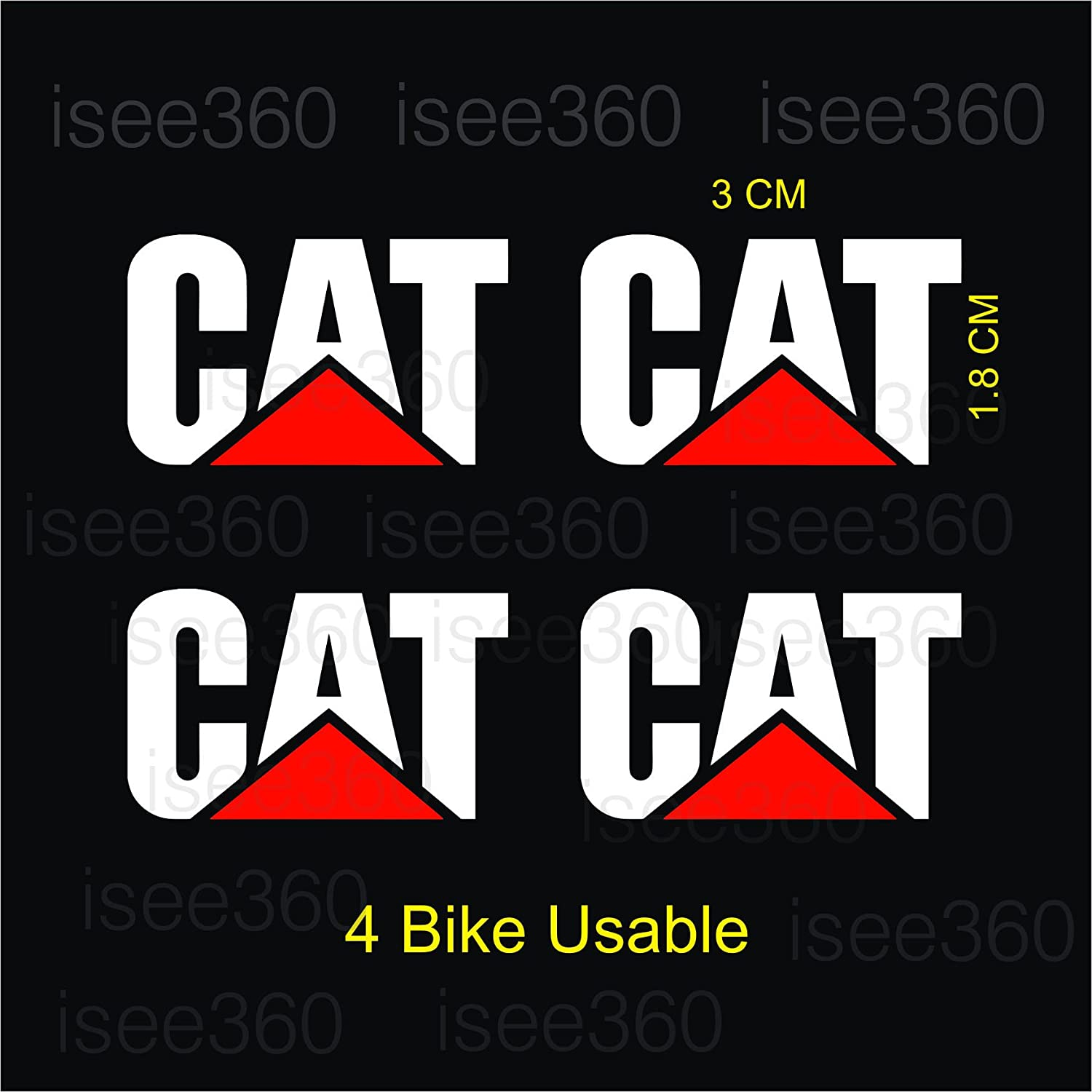 Isee 360cat logo water resistance die cut reflective sticker for handle bar disc box bike chaise visor mudguard car white and red pack of 4