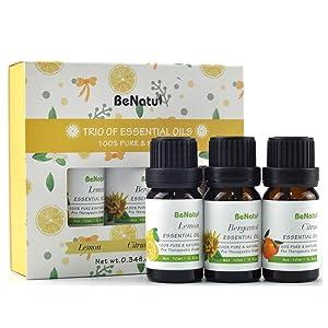 Benatu Citrus Essential Oils Set - Lemon, Mandarin, Bergamot, Cold Pressed Aromatherapy Kit for Diffuser, Soap Making, Bath and Anti-anxiety 3 Packs