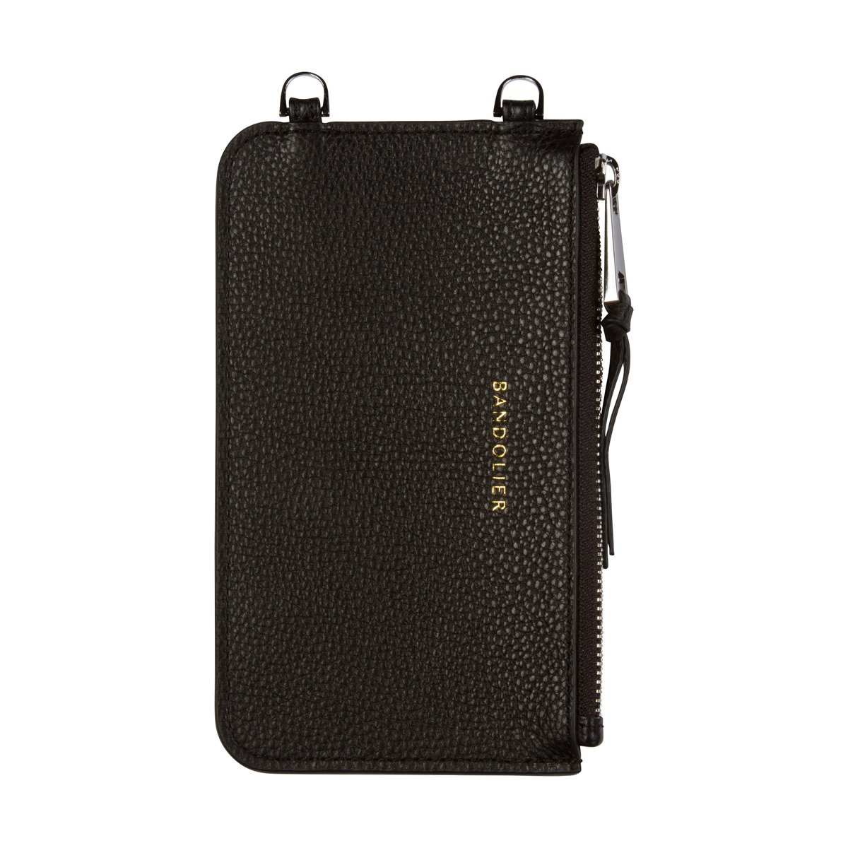 Bandolier [Emma] Leather Zip Pouch - Black Pebble Leather with Silver Detail - Compatible with All Bandolier Phone Cases