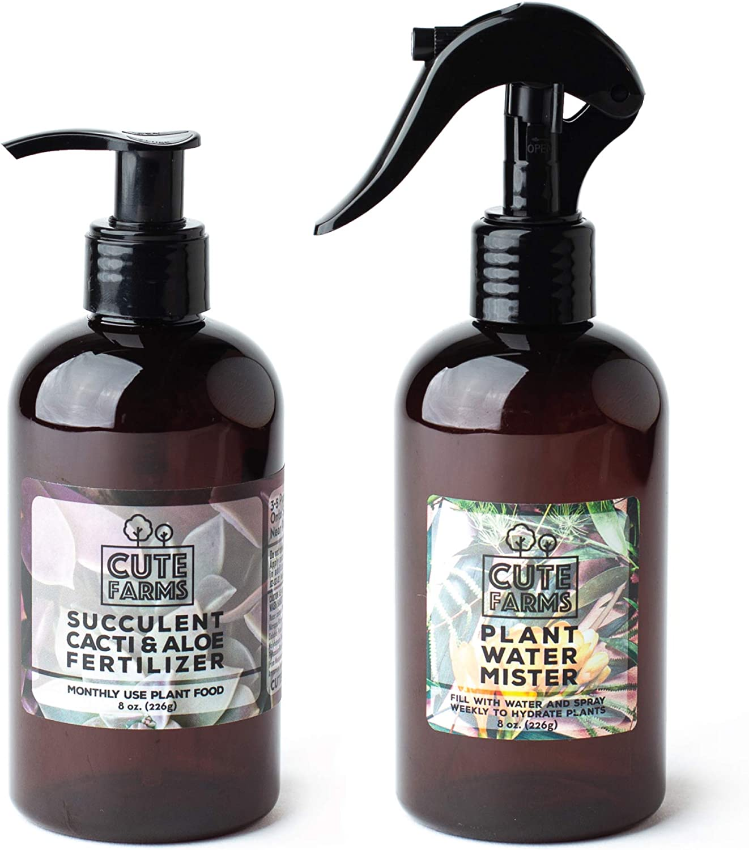 Cute Farms Succulent, Cacti, & Aloe Fertilizer   Gentle Monthly Use Formula Plant Food (8 oz. Bottle + ONE Fine Mist Spray Bottle)