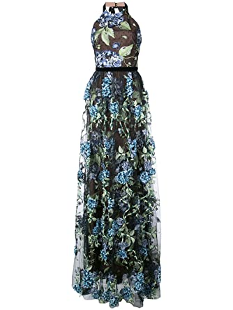 73f8b79b5d5d6 Marchesa Notte Women s Sleeveless 3D Embroidered Evening Gown 10 Black Blue  at Amazon Women s Clothing store