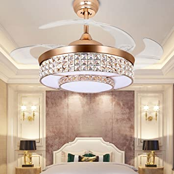 Tipton Light Ceiling Fans 42 Inch 4 Retractable Blades LED Ceiling Fan  Crystal Chandelier With Remote