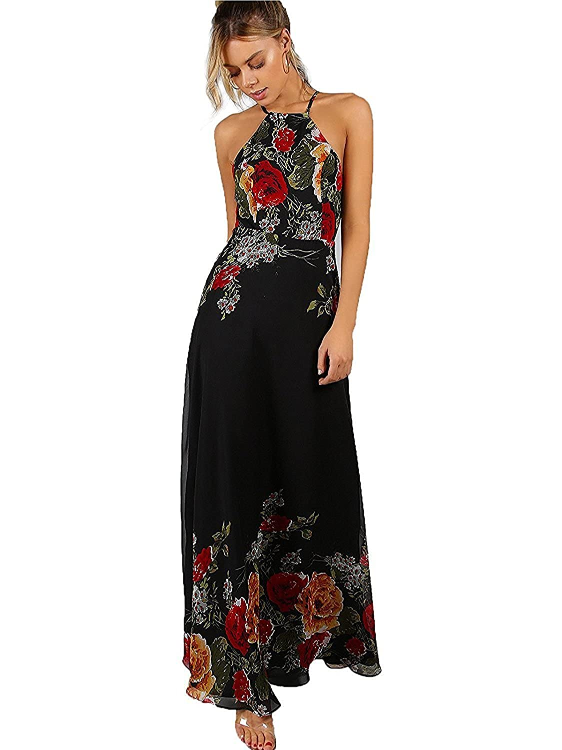 6801f6f7eb Amazon.com: Floerns Women's Sleeveless Halter Neck Vintage Floral Print Maxi  Dress: Clothing