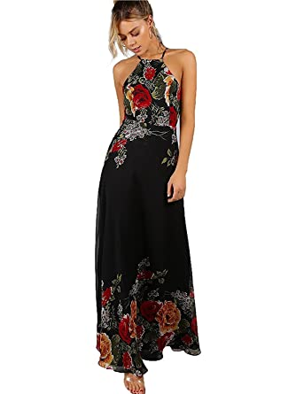 cc1a21a1ef5f6 Floerns Women's Sleeveless Halter Neck Vintage Floral Print Maxi Dress  X-Small Black-red