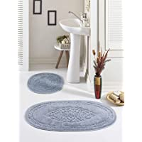 Banyo Paspas Seti Oval Pamuklu Osmanlı Gri