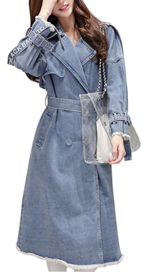 77f505d553557 Gihuo Women s Mid Long Lapel Denim Jacket Single Breasted Belted Trench Coat  (S