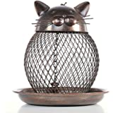 SHZONS Bird Feeder, 360 Degrees Cat-Shaped Antique Metal Hanging Wild Bird Feeder for Outside