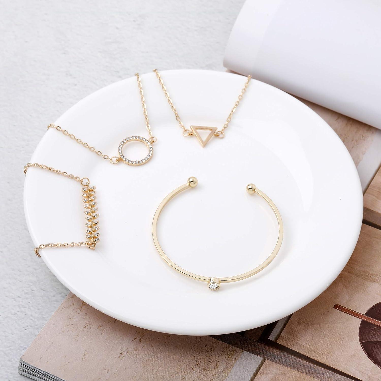 Jovono Simple Cerceau Creux Bracelet Ouvert Termin/é Large Bracelet Manchette Avec Bracelet En Cercle Feuille Triangle Pour Femmes Et Filles 4 Pi/èces Or