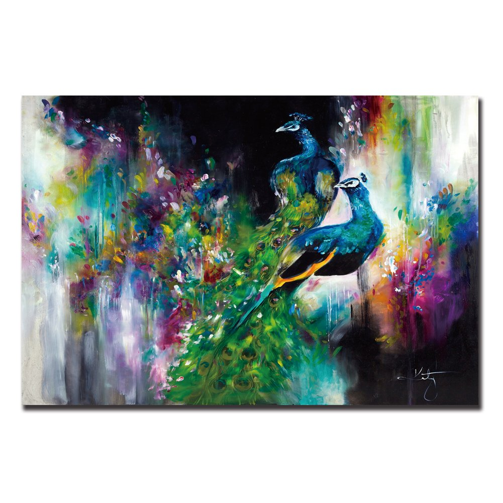 ShuaXin Modern Wall Decor Art 1 Piece Two Peacocks Abstract Animal Pictures For Home Decor Decoration Gift (24X36inch)