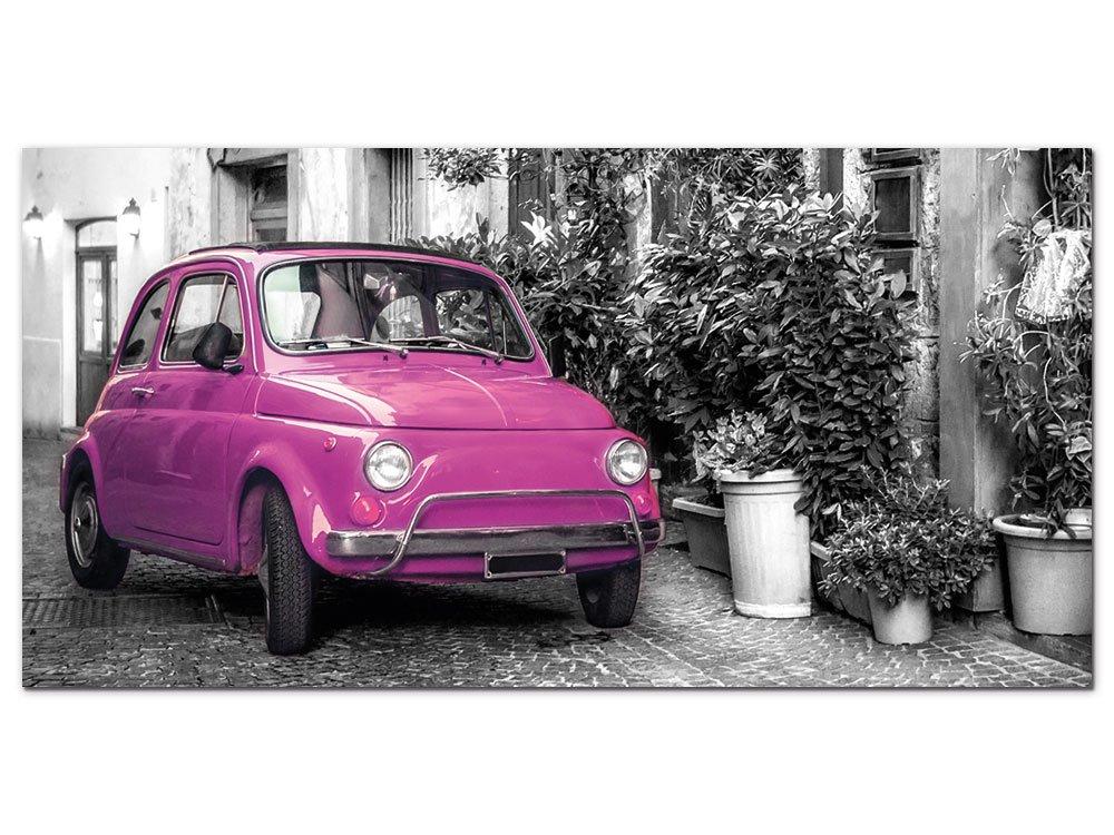 GRAZDesign Wandbild Schwarz Weiss Pink Retro Auto in Italien - Acrylglasbild Bilder Aus Acryl Fotografie Fotodruck - Dekoration Wohnung modern / 100x50cm / 100058_001_01_04