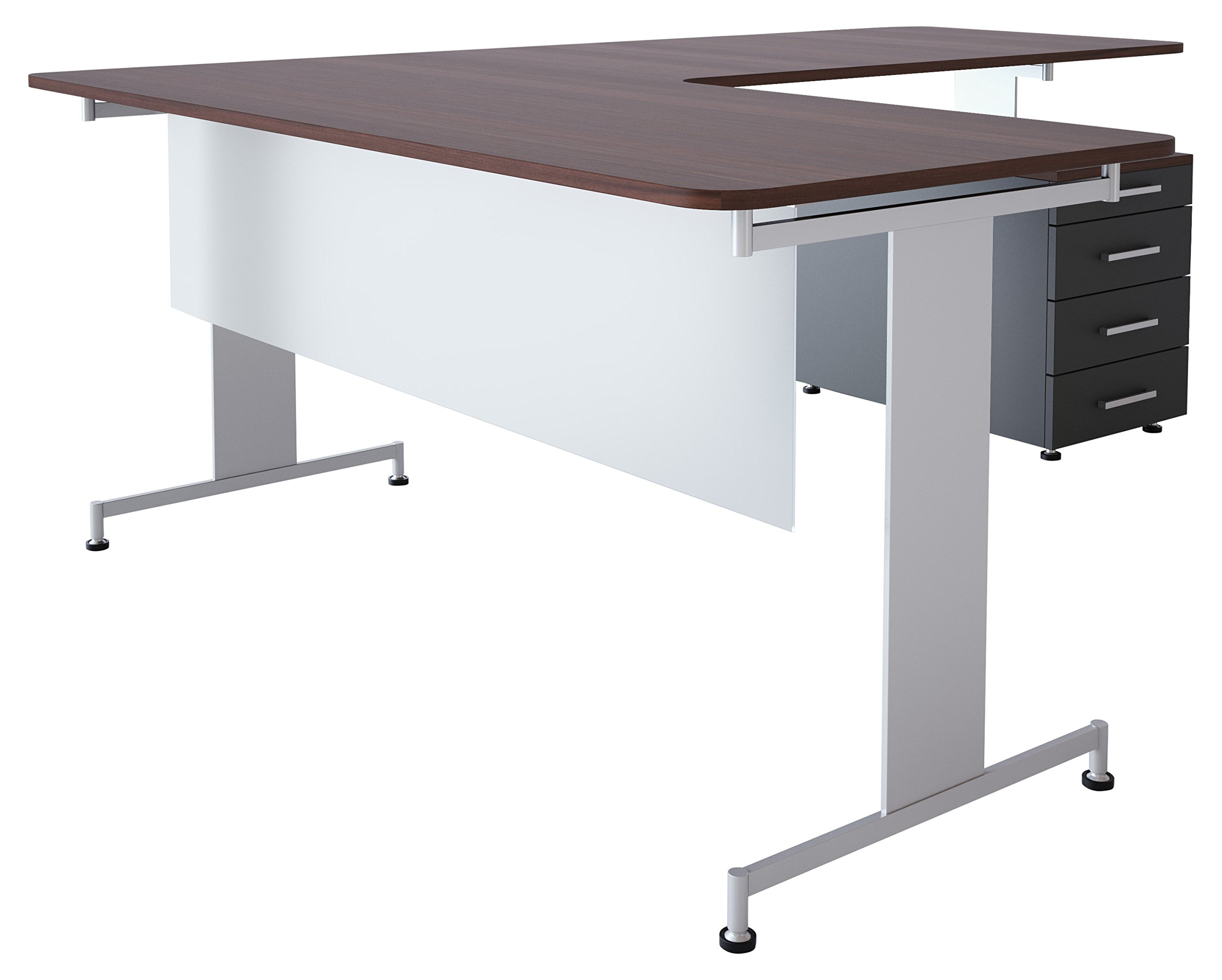 Obex 18X36FA-L-XX-MP 18'' Frosted Acrylic Desk and Table Mounted Modesty Panel, Light Brown Frame, 18'' x 36''