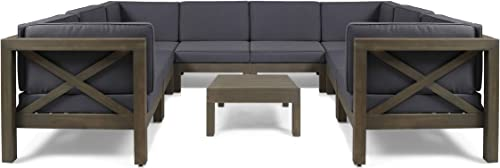 Great Deal Furniture Keith Outdoor Acacia Wood 8 Seater U-Shaped Sectional Sofa Set with Coffee Table, Gray and Dark Gray