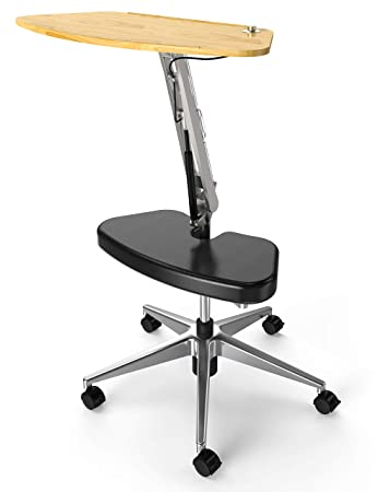 RoomyRoc Mobile Laptop Desk Cart Stand with Adjustable Tabletop and Footrest Computer Table Black