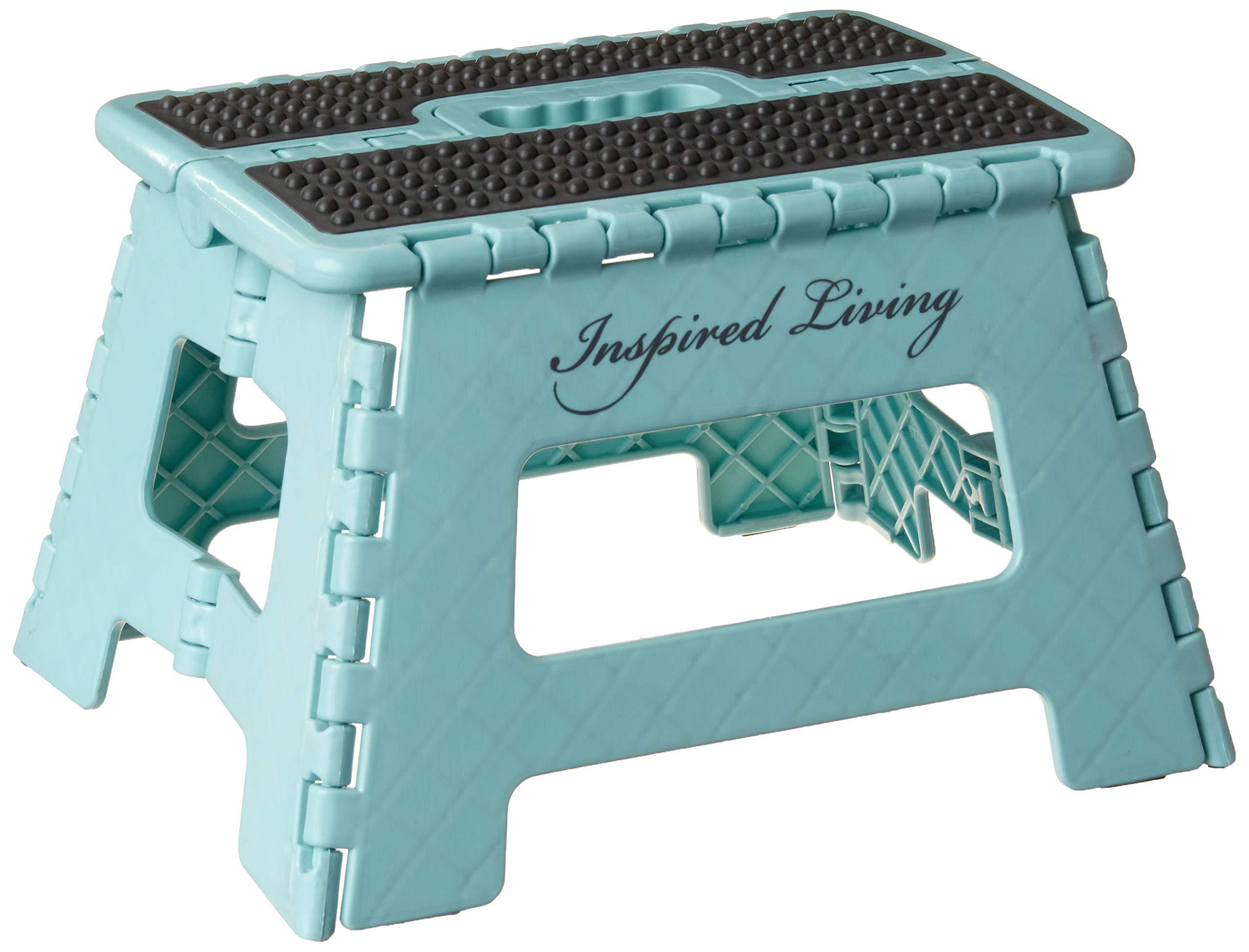 Inspired Living Folding Step Stool Heavy Duty, 9'' High, Blue Robins Egg by Inspired Living