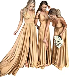 24c6936fc841 Graceprom Women's V Neck Backless Bridesmaid Dresses 2018 Empire Waist Prom  Gown Wedding Party Dresses