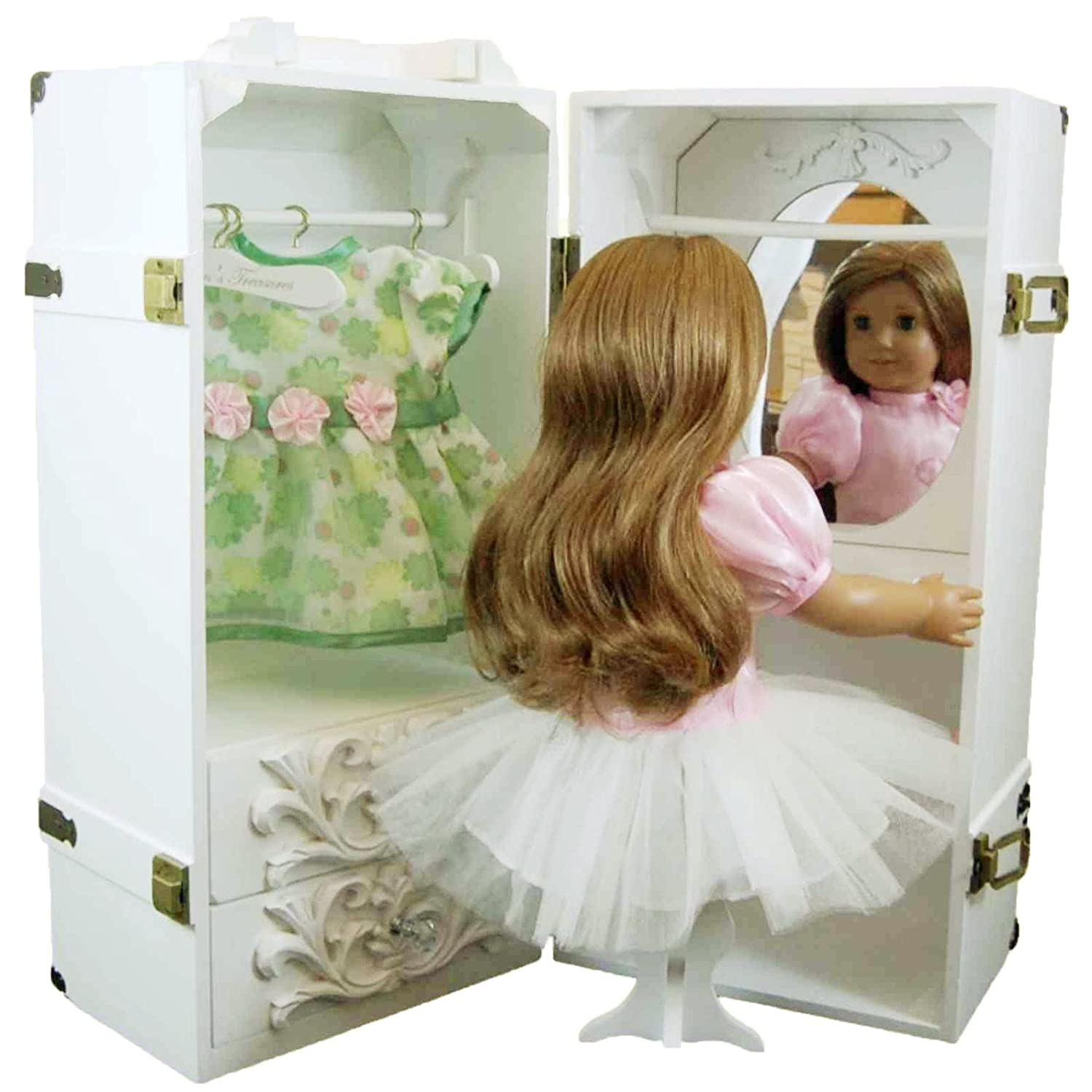 Hangers Vanity White Wooden Trunk The Queens Treasures 18 Doll Clothes Storage Case Furniture for American Girl Stool