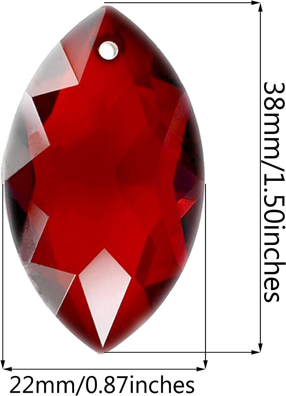 Fushing 10pcs oeil /à cheval avec couleurs m/élang/ées perles en cristal gouttes lustre pendentifs prismes suncatcher fen/être pendaison ornements d/écoration