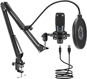 Studio Condenser USB Microphone Computer PC Microphone Kit with Adjustable Scissor Arm Stand and Mic Gain Knob Shock Mount for Instruments Voice Overs,Streaming Broadcast and YouTube Videos (Black)
