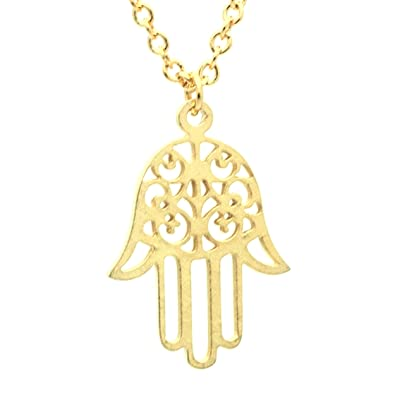hamsa small image diamond gold yellow pendant
