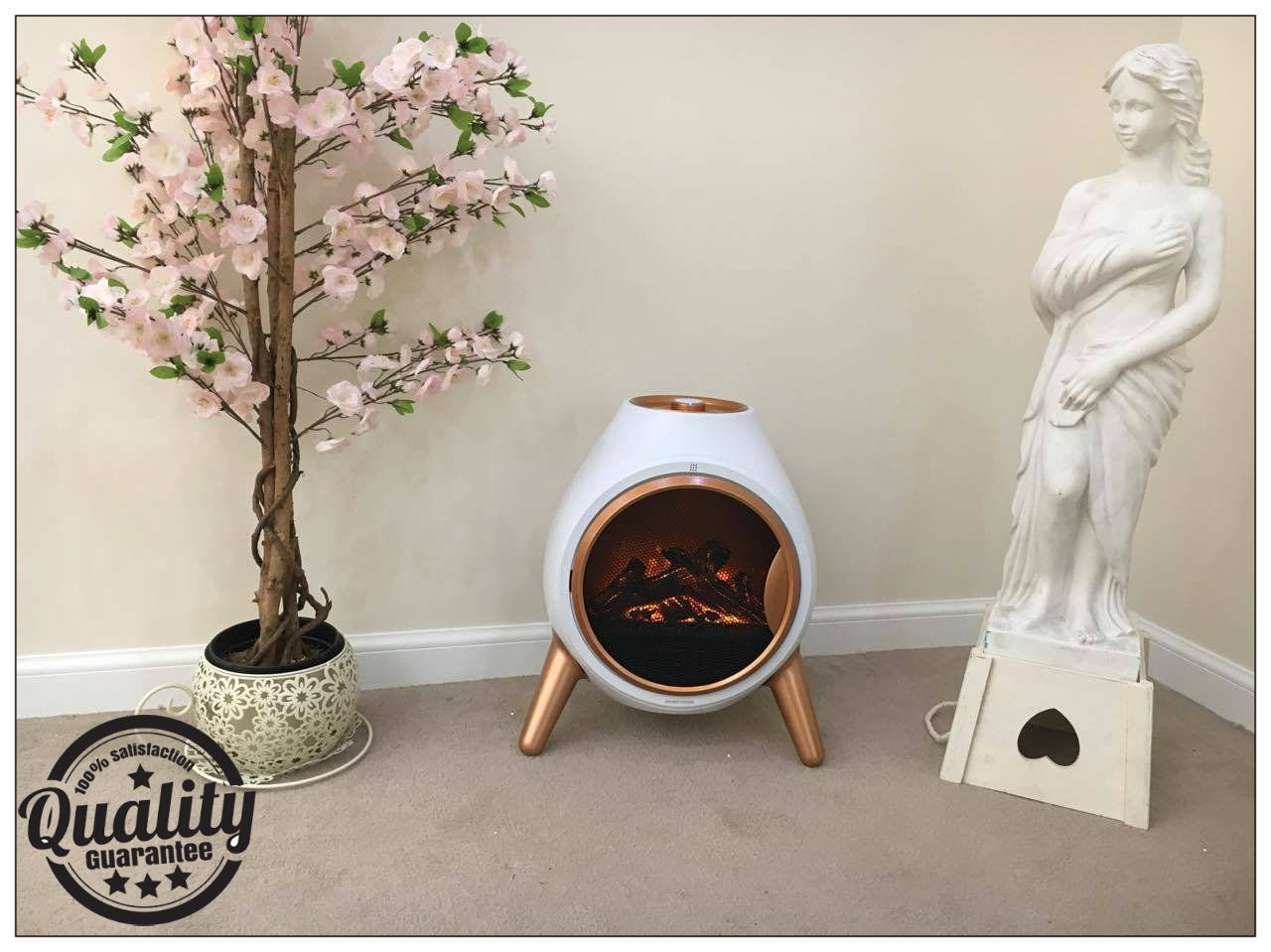Garden Mile® Portable 1.8Kw White Retro Oval Log Burner Electric Fire Stove, Free Standing Realistic Flame Effect Insert Fire Room Heater Wood Burner 2 Heat Settings And Opening Door