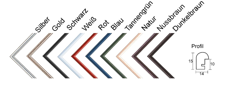 Pia Echtholz Bilderrahmen rund schmal 11 x 23 cm Größe frei wählbar ...