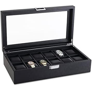 Amazoncom SWEETV Large Watch Case for Men 12 Watches Slots Faux