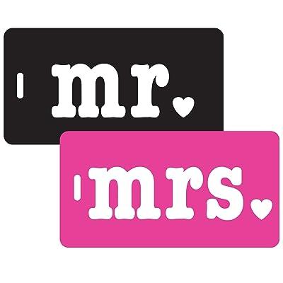 Inventive Travelware Mr & Mrs 2pc Luggage Tag Set -Black/Pink