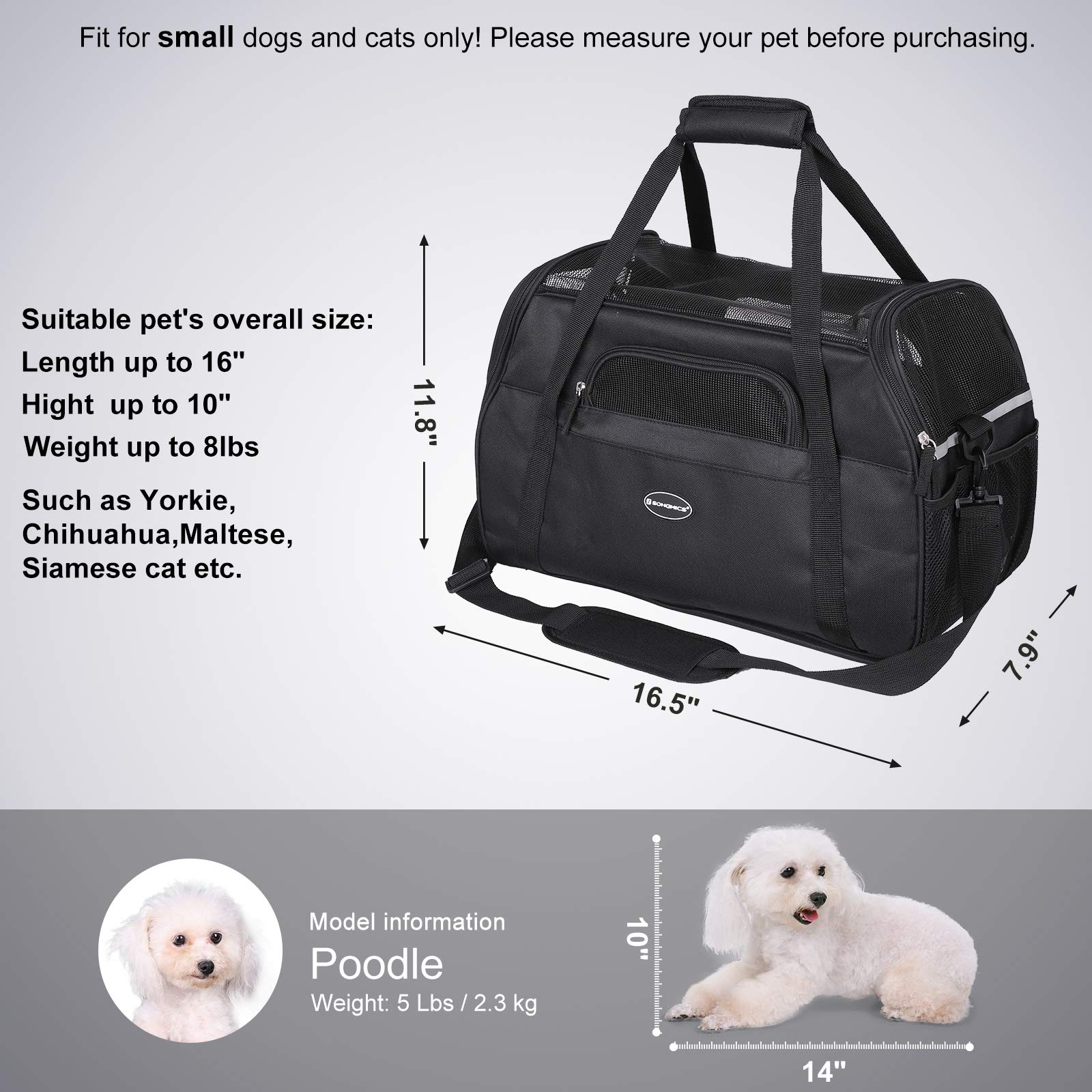 SONGMICS Foldable Pet Carrier, Soft-Sided, for Travel, Airline Approved, Small Dog/Cat Bags with Shoulder Strap, Garbage Bag Included UPDC42BK by SONGMICS (Image #3)