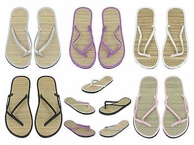 Zehentrenner Damen Sandalette mit Bastsohle und Holzperlen Beige Natur Sand, 38
