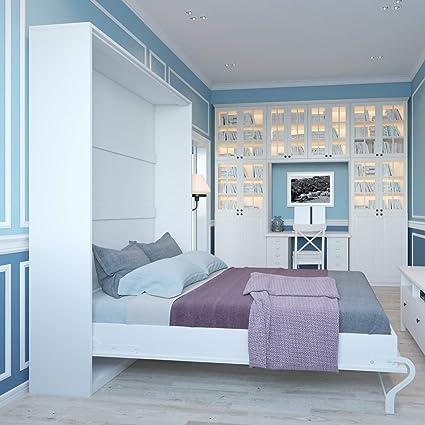 Smartbett Bett Verstecktem Von 140 Cm Vertikal Schrank Bett Das Bett Wandhalterung Klappbar Metall Weiss 140 X 200 Cm