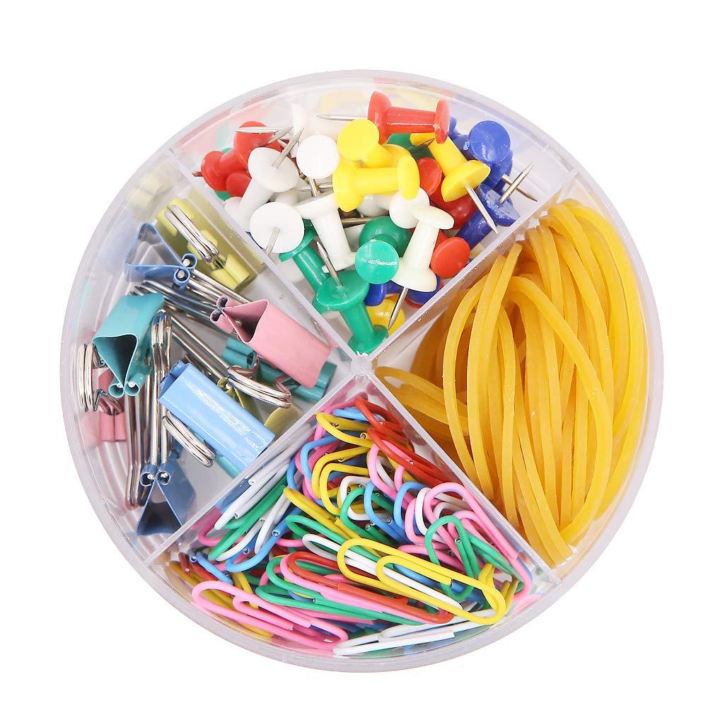 4/en 1/Bo/îte ronde Clip Ensemble de papeterie Comprend des bandes en caoutchouc color/é Binder clips Paper clips des punaises pour l/école Fournitures de bureau Total 205/pcs