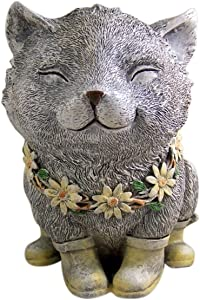 Cat Garden Statue Rainy Day Pudgy 7.75 Inch