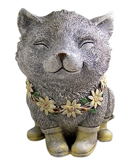 Rainy Day Pudgy Cat Garden Statue 7.75 Inch