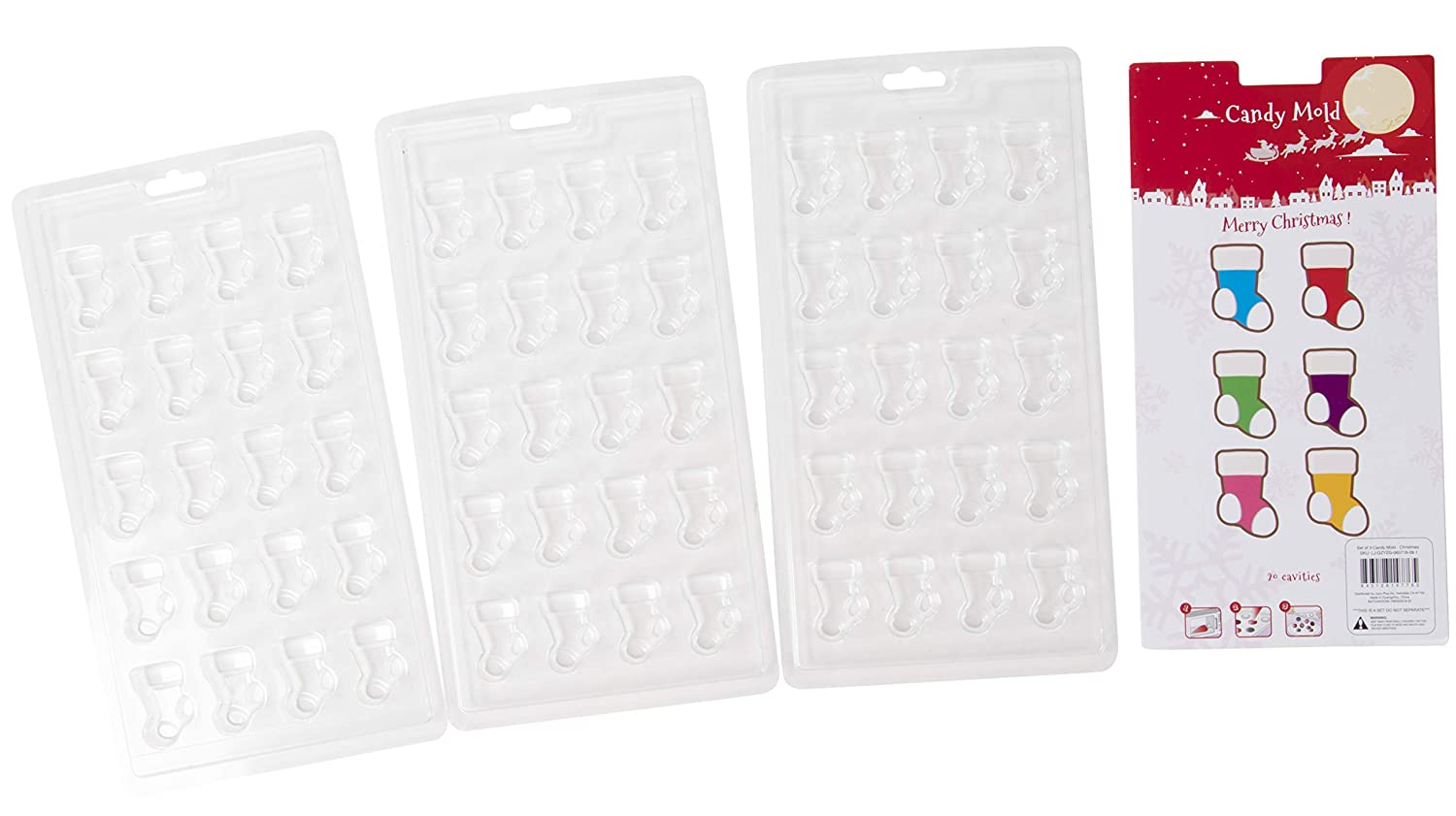 Christmas Chocolate Candy Mold - 3-Set Christmas Stocking Clear Mold for Treats, Jelly, Fudge, Perfect for Holidays and Festive Parties, 12 Cavities on Each Mold