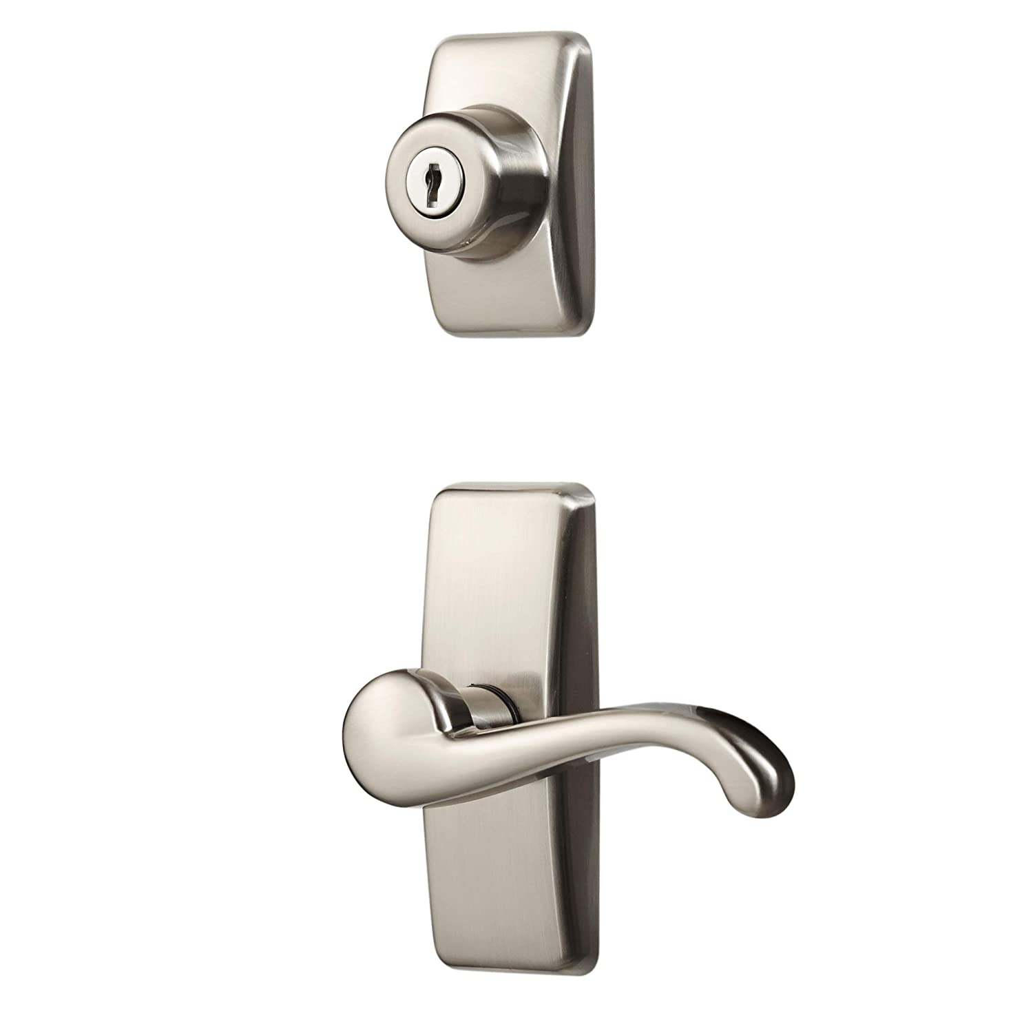 Ideal Security Inc. HK01-I-099 GL Lever Set for Storm and Screen Doors With Keyed Deadbolt Satin Nickel