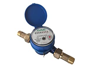 "DAE AS130U-50 1/2"" Water Meter, Measuring in Gallon + Couplings"