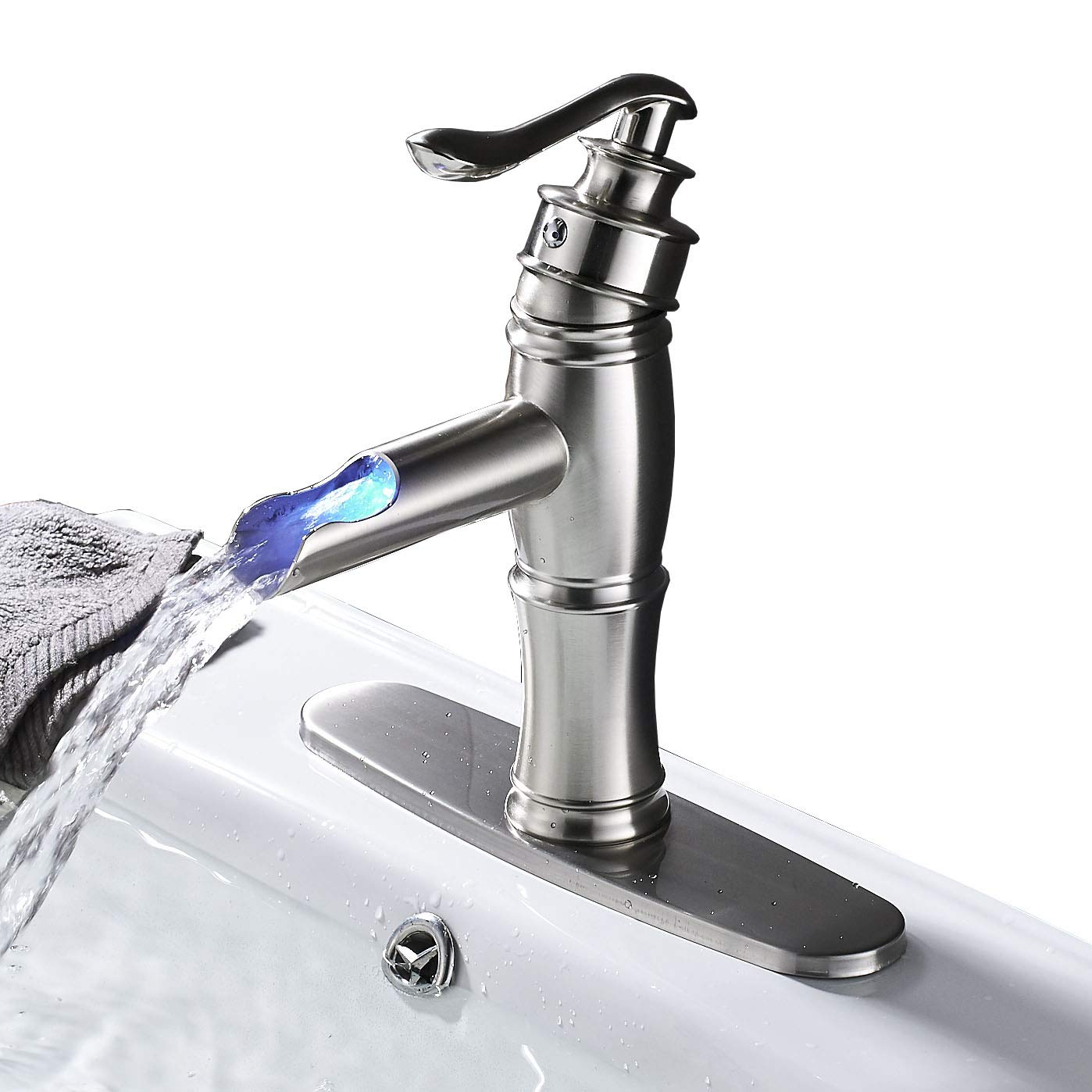 Rozin LED Light Waterfall Single Handle Basin Faucet with 8-inch Deck Plate Brushed Nickel