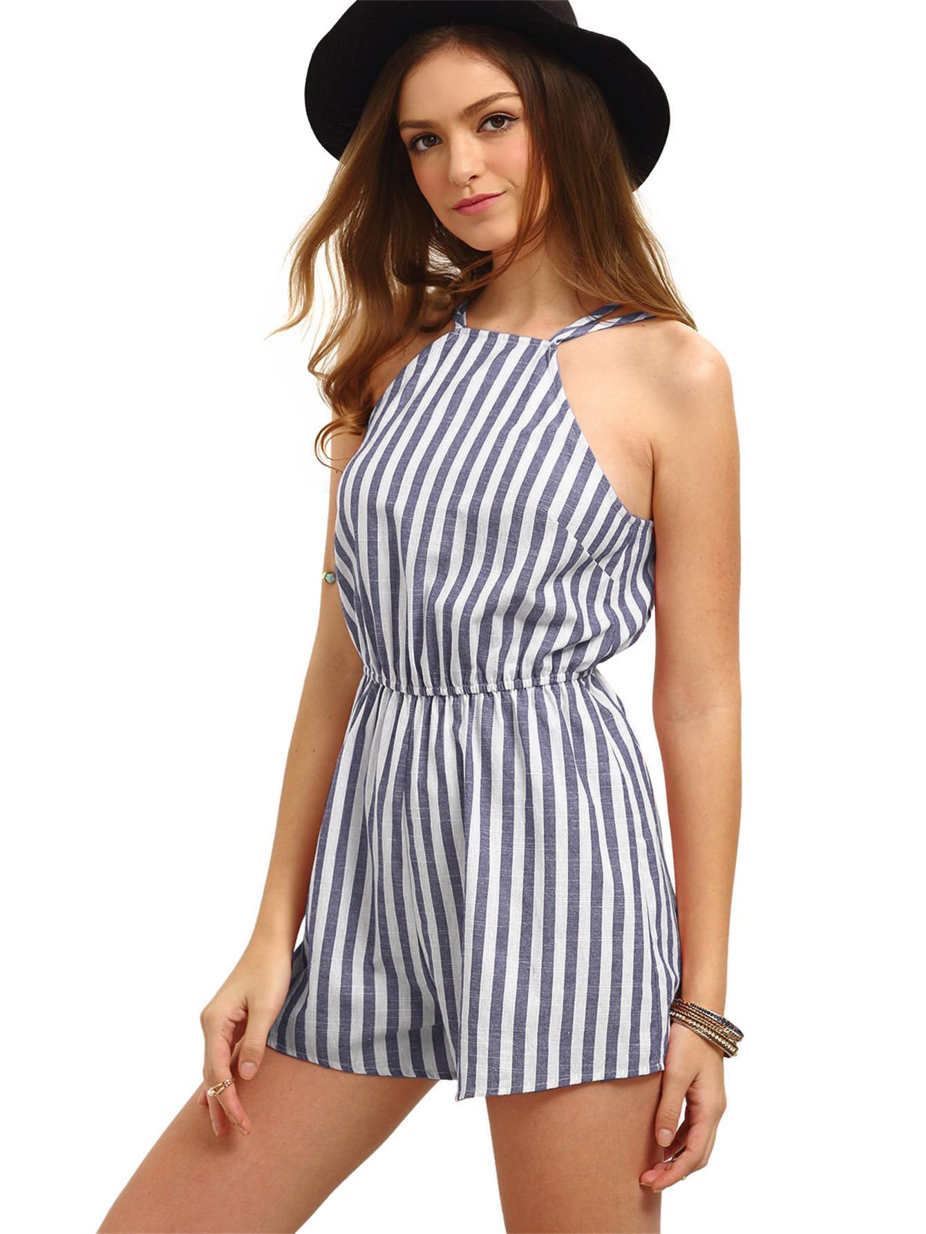Romwe Women's Casual Striped Sleeveless Halter Sexy Short Romper Jumpsuit Navy XS by Romwe (Image #1)