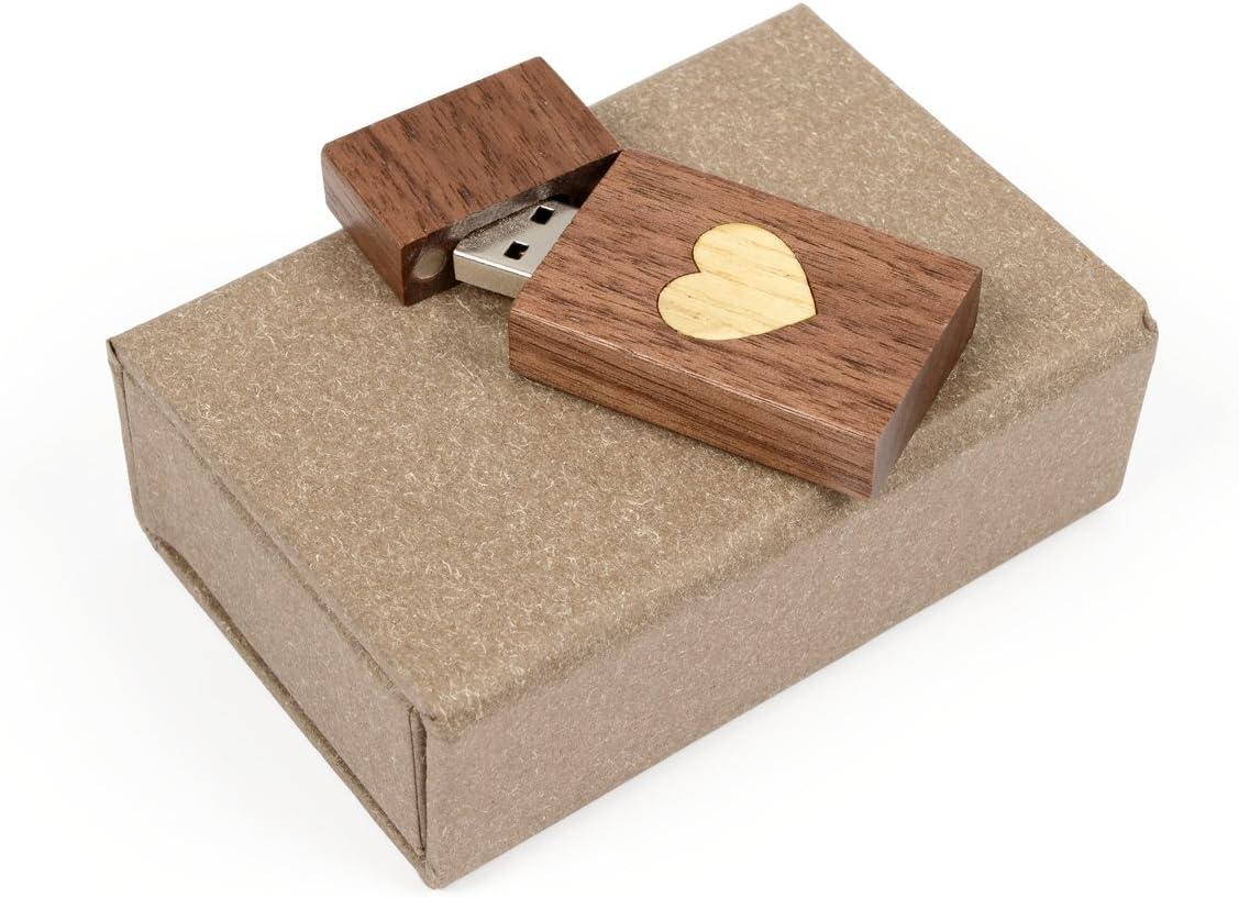 Heart Veneer Love Design with Handmade Paperbox Filled with Raffia Grass Walnut Wood USB 2.0 8GB Flash Drive